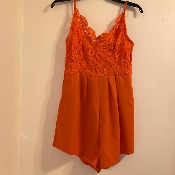 Orange lace shein romper